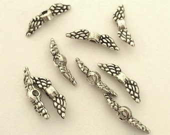 Tiny Angel Wings - 100 pcs. - Angel Wings - Angel Wing Beads - Antique Silver Tibetan Style -  Lead Free