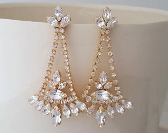 Bridal earrings,Bridal Chandelier earrings,White Crystal Bridal earrings,Long earring,Statement earrings,Swarovski earrings,Wedding Jewelry