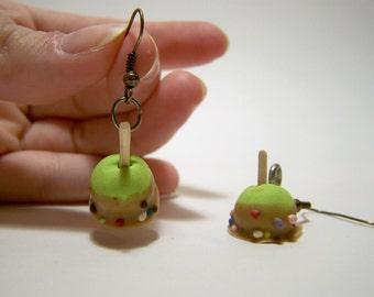 caramel apple polymer clay dangle earrings