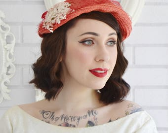 Vintage 1950s Red Woven Raffia Hat with Off White Flowers and Red Netting by Artistic 4U