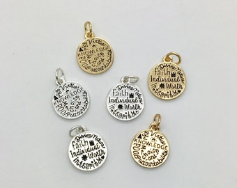 Young Women Values charm, YW charms, silver or gold double sided YW values pendant, bangle charm, necklace charm, be charmed YW Values BC36