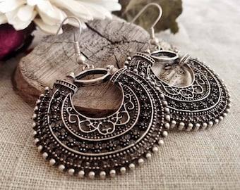 Ethnic Earrings | Antique Silver Plated Moroccan Earrings | Tribal Earrings | Pendientes | Boho Chic Earrings | Bohemian Filigree  Earrings