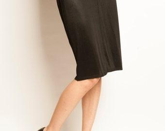 Azzedine ALAIA 1980's stretched knee length black pencil skirt