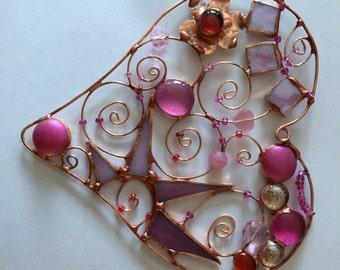 Stained Glass & Copper Wire Heart Sun Catcher