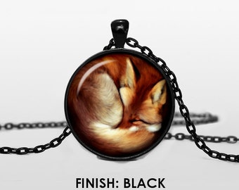 sleeping FOX Necklace, fox Jewelry, fox gift for women handmade, silver bronze black animal Pendant - Scodinzolo in the aid of animals