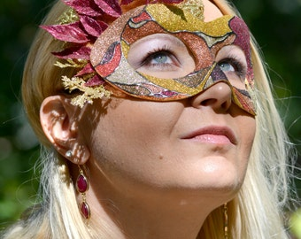 Tamina, Handmade Paper-Mache Masquerade Mask, Autumn Season in Yellows, Browns, Oranges, Reds, and Cream Glitters; Mardi Gras, New Years