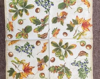 PN-230. Autumn Acorns Paper Napkins Halloween Paper Napkins for Decoupage Napkins for Art Luxury Design Napkins DECOUPAGE SERVIETTE