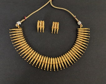 Indian Mullu Necklace, Indian Gold Necklace, Indian Bridal Jewelry, Bollywood, Ethnic, Polki, Kemp Temple Jewelry, South Indian Jewelry