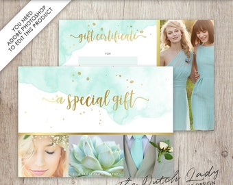 Photography Gift Certificate Template - Photo Gift Card - Watercolor Style - Design #4 - INSTANT DOWNLOAD - Layered .PSD Files