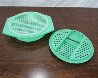 Tupperware Grater Shredder Slicer, 3 Piece Set, Jade Green