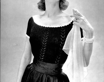 1950's Vintage Knit Top Pattern - Bernat No. 457