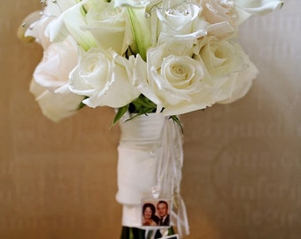 Wedding Bouquet Photo Charm - Bouquet Picture Charm -  Photo Bouquet Charm - Boutonnière Charm - Bridal Bouquet Charm