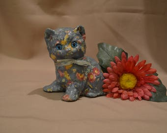 Vintage Decoupage Floral Patchwork Calico Cat Figurine