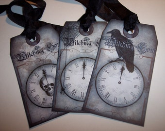 Witching Hour Tags Halloween Ephemera Tags set of 6