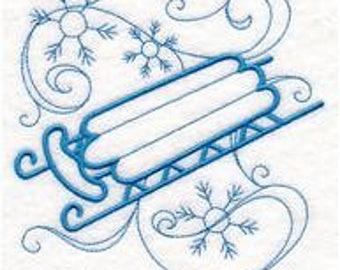 Sled Kitchen Towel - Embroidered Sled tea towels- Sled Kitchen decor