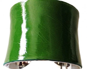 Leaf Green Patent Leather Silver lined Cuff - by UNEARTHED