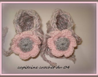 baby booties crochet birth/shoe in wool/slippers newborn/baby booties wool newborn baby/gift new born/handmade