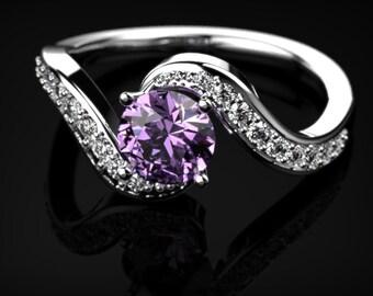 Amethyst Engagement Ring White Gold Ring Gemstone Engagement Ring Amethyst Engagement Ring February Birthstone