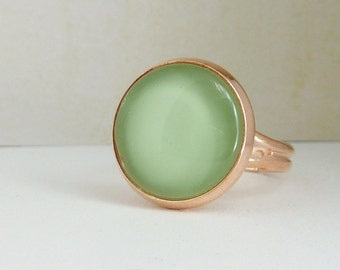 Cabochon Ring / adjustable Ring / light green ring / rosegold ring / gift for her / gift under 10 / mothers day gift