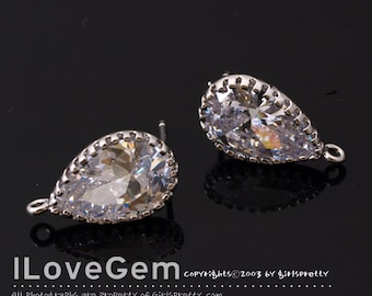 2pcs, NP-1854 Rhodium, Teardrop CZ, Cubic Earrings, 925 sterling silver post, Wedding jewelry, Wedding Earrings