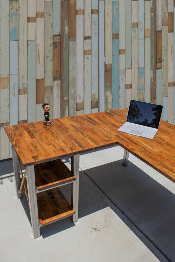 Rustic L Shaped Desk W Solid Wood Butcher Top Steel Tube
