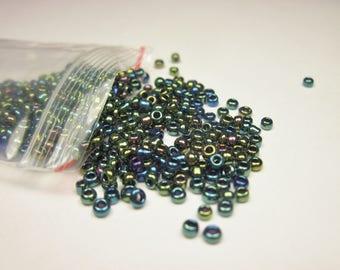 bag of seed beads (2 mm) metallic glass (R107)
