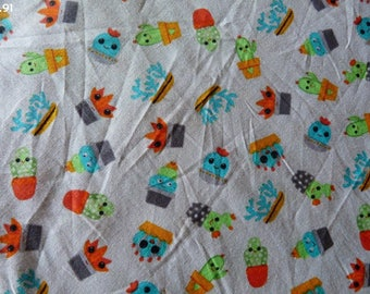 Fabric R91 Cactus on gray coupon 35x50cm