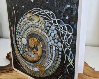Greeting cards - nautilus - mosaic art cards - pack of 5 - fine art cards - fantasy art cards - whirlwind art - kate rattray mosaic - silver