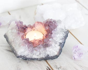 Amethyst candleholder. T-light holder. Boho Home Decor. Meditation. Crystal Quartz.  Bohemian homewares.