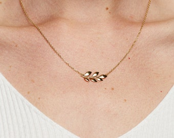 The Little Leaf / Simple Leaf Necklace / 14k Gold Plated Leaf Design on Gold Plated Chain / Nature Gifts / GJP-GZ-005-GP