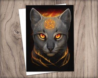 POSTCARD Pentacle Cat