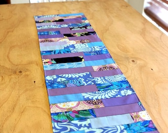 Purple and blue quilted fabric reversible table runner
