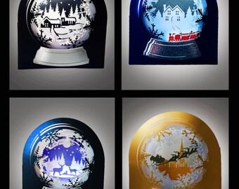 Snow Globe 3D cards SET of 4 Winter wonderland set