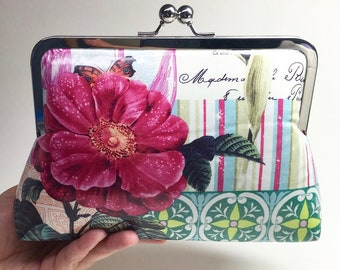 Kisslock Clutch Purse with chain - French Journal - large - laminated cotton