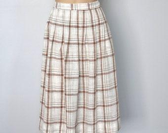"""Skirt Vintage Gauze Full Skirt Boston Traveler Pleated Skirt Brown Beige and Slate Grey Waist Size 28"""""""