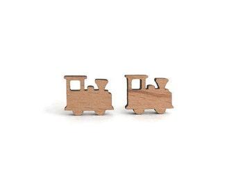 Wood train earrings, train stud earrings, train earrings, wood earring, wood jewelry, train jewelry, cute train earrings, locomotive earring