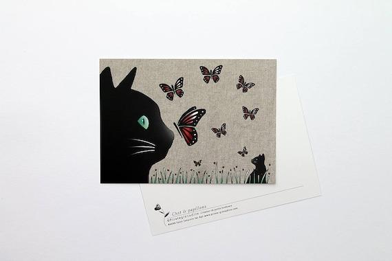 """Postcard """"Cat and butterflies"""""""