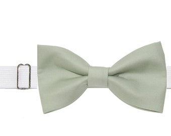 Boys Seafoam Green Pre-Tied Cotton Bow Tie On Elastic Adjustable Strap