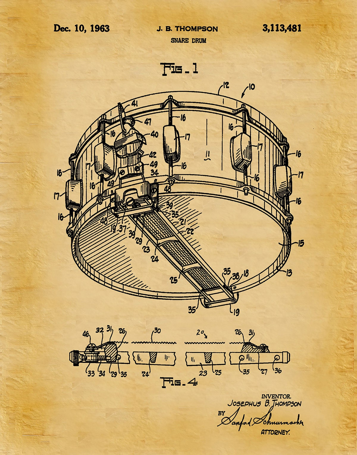1963 Snare Drum Patent Print - Marching Band Decor - Music Room ...