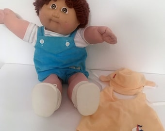 Vintage 1978 1982 Cabbage Patch Boy Doll with 2 Outfits~Brown Hair~Brown or Hazel Eyes~Coleco