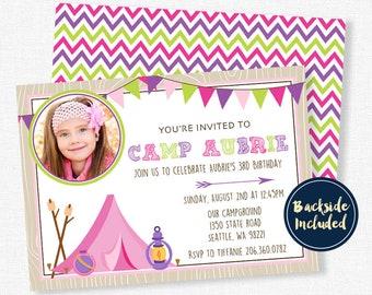 Camping Birthday Invitation, Glamping Party Invitation, Photo Invitation, Outdoors Birthday Invitation, Camp Invitation