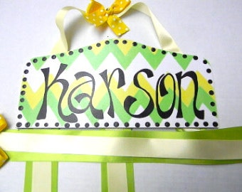 Hair Bow Holder-Chevron Personalized-yellow and lime