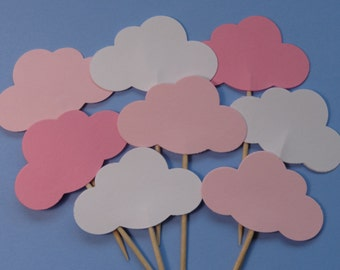 24 Mixed Pink and White Cloud Cupcake Toppers - Food Picks - Party Picks - Baby Girl Shower Decorations