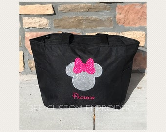Personalized Minnie Mouse Zippered Tote Bag