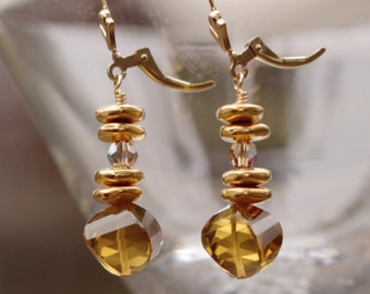 Cognac Quartz Earrings - Gold Cognac Quartz Earrings - Gold Quartz Earrings – 14K Gold Fleur De Lis Earrings - Quartz Fleur De Lis Earrings