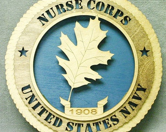 "Custom 12"" Wood US Navy Nurse Corps Wall Tribute - FREE SHIPPING"
