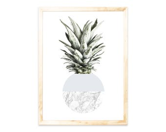 Pineapple, gray, Nordic, print, poster, marble