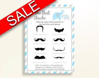 Name That Stache Baby Shower Name That Stache Elephant Baby Shower Name That Stache Blue Gray Baby Shower Elephant Name That Stache C0U64