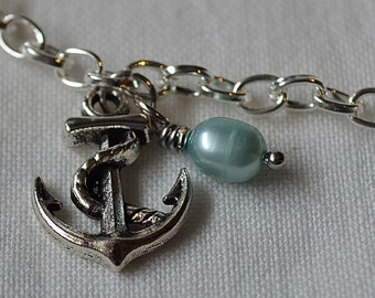 Anchor & Pearl Anklet