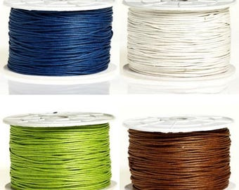 20 / 50 / 100 m cotton wax 1 mm Navy Blue - Green Apple - off white - Brown